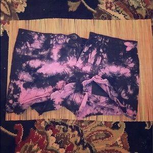 Purple and black tye dye shorts size 5